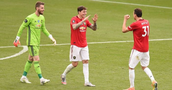 David de Gea, Victor Lindelof, Nemanja Matic Man Utd July 2020