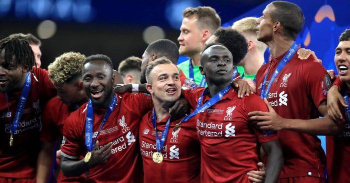 Naby Keita, Xherdan Shaqiri, Sadio Mane, Joel Matip Liverpool June 2019
