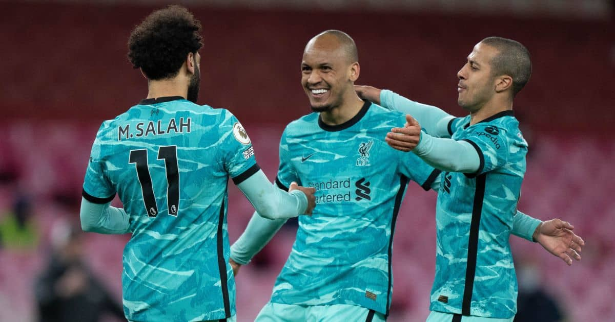 Mohamed Salah, Fabinho, Thiago Alcantara Arsenal v Liverpool April 2021