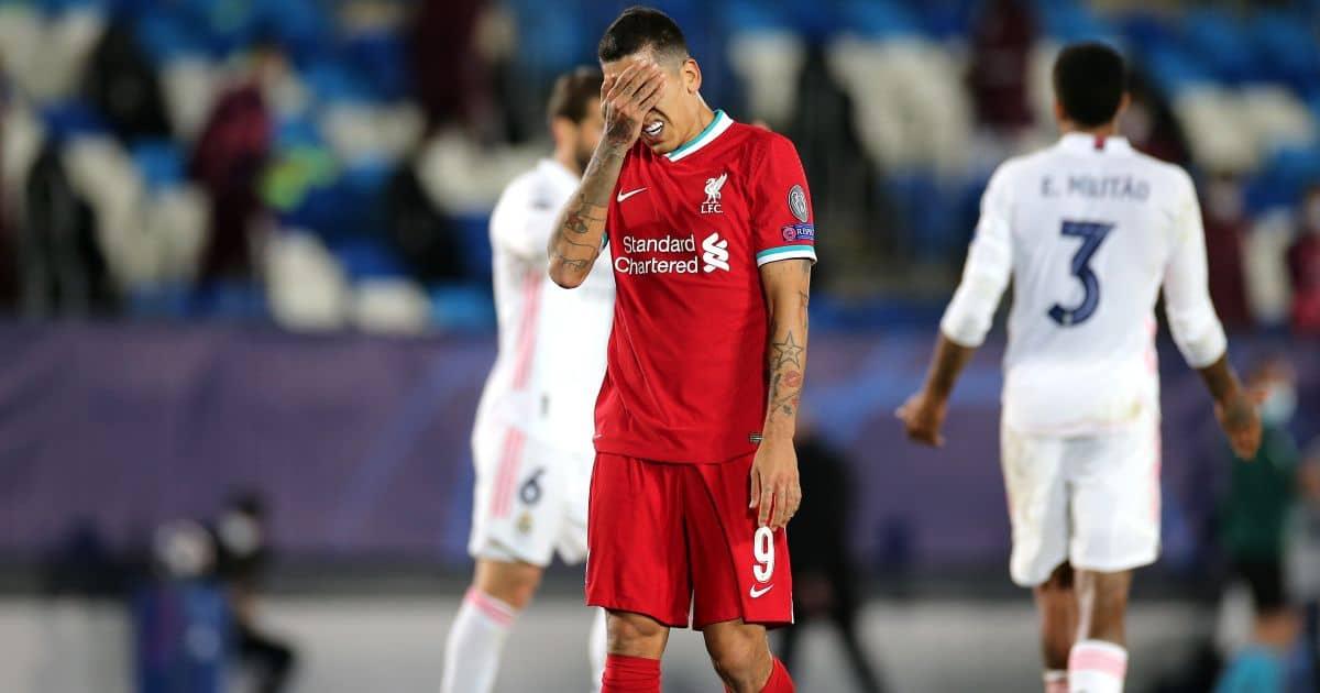 Roberto Firmino Real Madrid v Liverpool April 2021