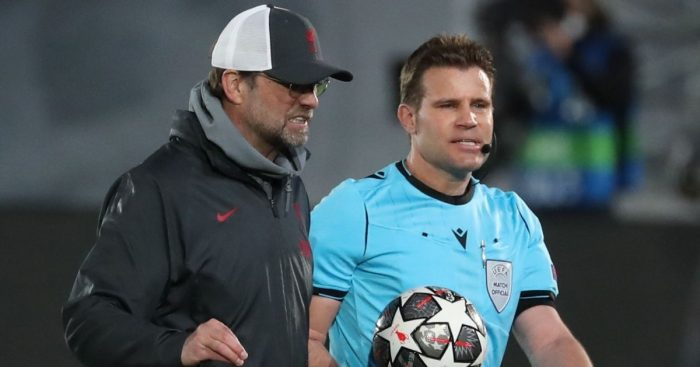 Jurgen Klopp, Felix Brych Real Madrid v Liverpool April 2021