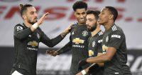 Alex Telles, Marcus Rashford, Bruno Fernandes, Anrthony Martial Man Utd December 2020