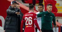 Casemiro, Jurgen Klopp, Andy Robertson Liverpool v Real Madrid April 2021