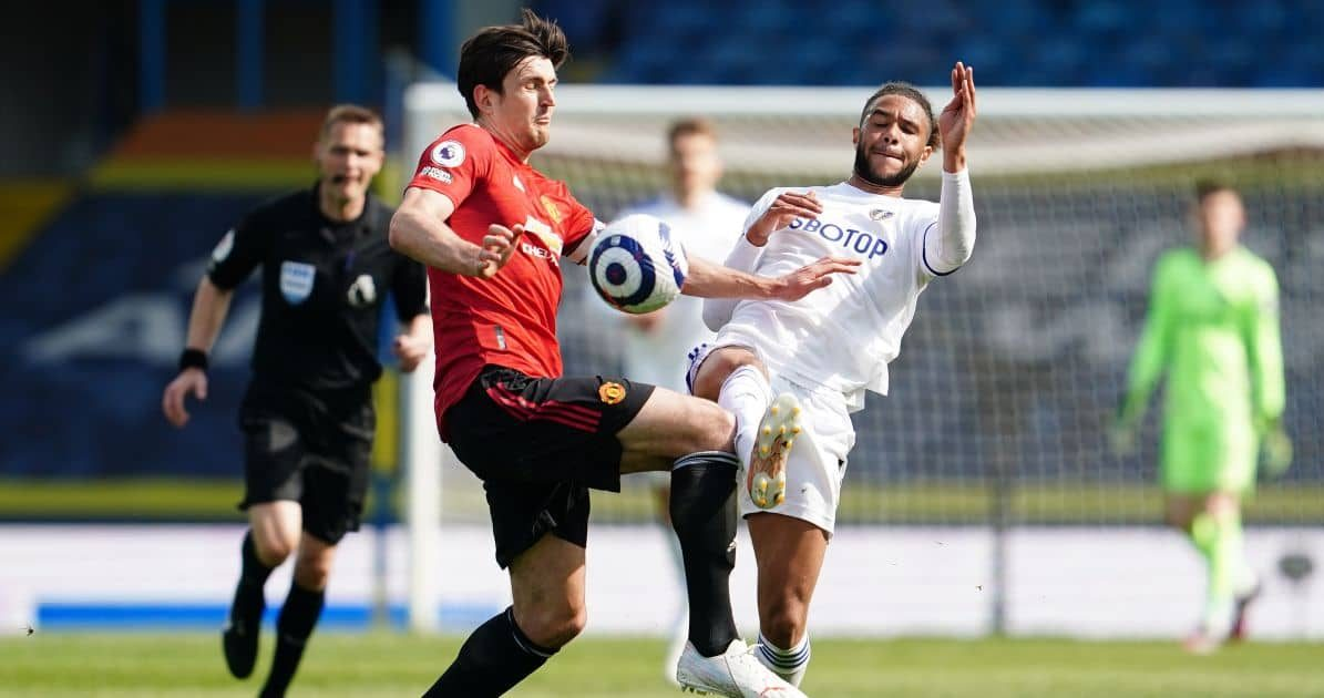 Harry Maguire, Tyler Roberts Leeds v Man Utd April 2021