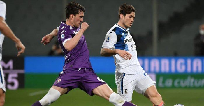 Dusan Vlahovic, Marten de Roon Fiorentina v Atalanta April 2021