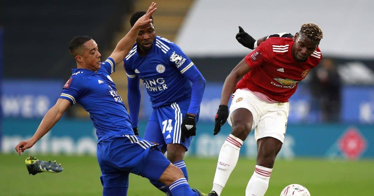 Youri Tielemans, Kelechi Iheanacho, Paul Pogba, Leicester v Man Utd