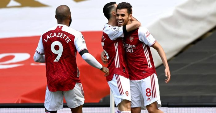 Dani Ceballos, Alexandre Lacazette Arsenal v Fulham April 2021
