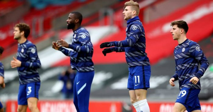 Antonio Rudiger, Timo Werner, Mason Mount Southampton v Chelsea February 2021