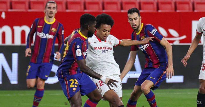 Samuel Umtiti, Jules Kounde Sevilla v Barcelona February 2021