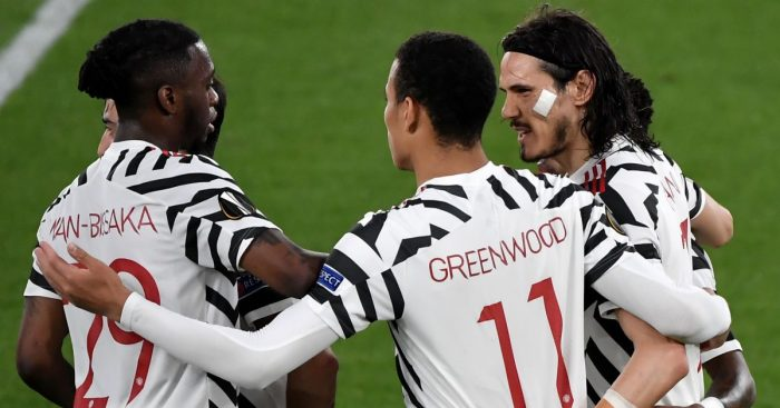Edinson Cavani, Man Utd celeb v Roma, Europa League