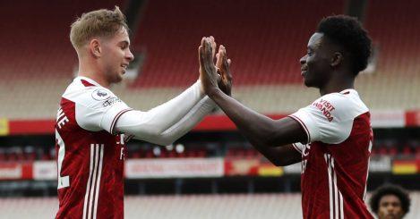 Emile Smith Rowe celebrating with Bukayo Saka, Arsenal