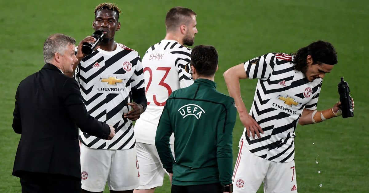 Ole Gunnar Solskjaer, Paul Pogba, Edinson Cavani Roma v Man Utd May 2021