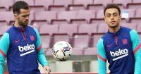 Miralem Pjanic, Sergino Dest, Barcelona training