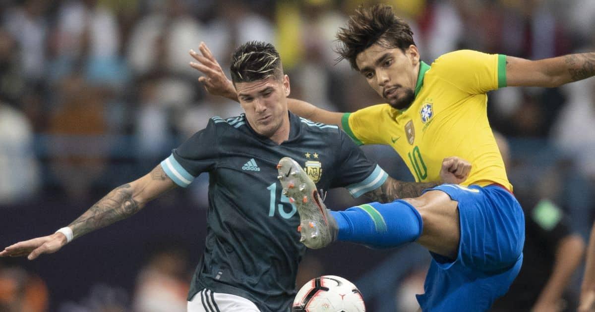 Rodrigo de Paul, Lucas Paqueta, Argentina v Brazil