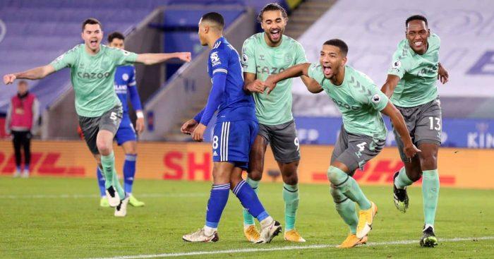 Mason Holgate, Dominic Calvert-Lewin Leicester v Everton December 2020