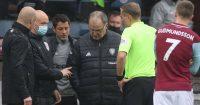 Sean Dyche, Marcelo Bielsa, referee Graham Scott, Burnley v Leeds