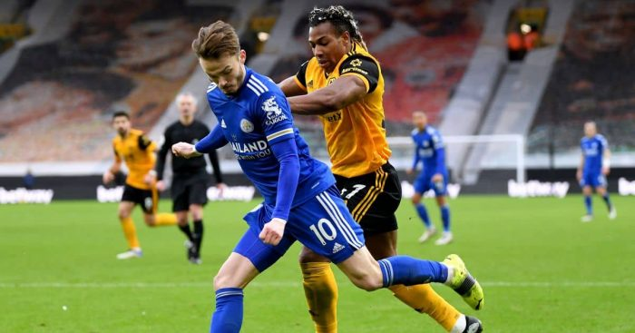 James Maddison, Adama Traore Wolves v Leicester February 2021