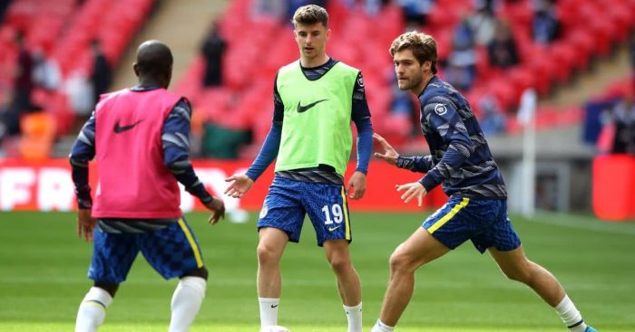 Mason Mount, Marcos Alonso, N'Golo Kante Chelsea v Leicester May 2021