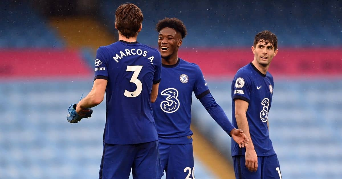 Marcos Alonso, Callum Hudson-Odoi, Christian Pulisic Manchester City v Chelsea May 2021