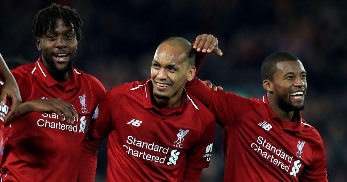 Georginio Wijnaldum, Divock Origi, Fabinho Liverpool v Everton December 2018