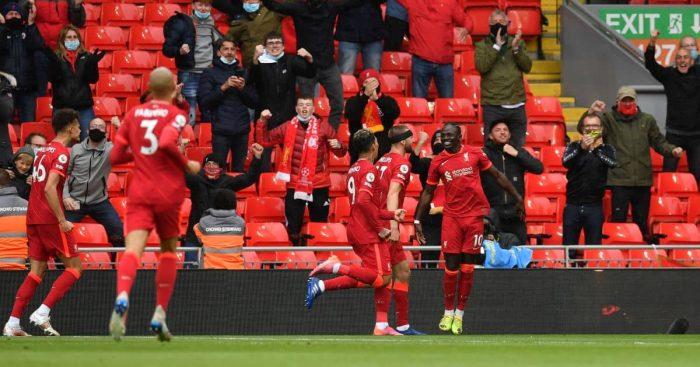 Sadio Mane celebrates Liverpool v Crystal Palace May 2021