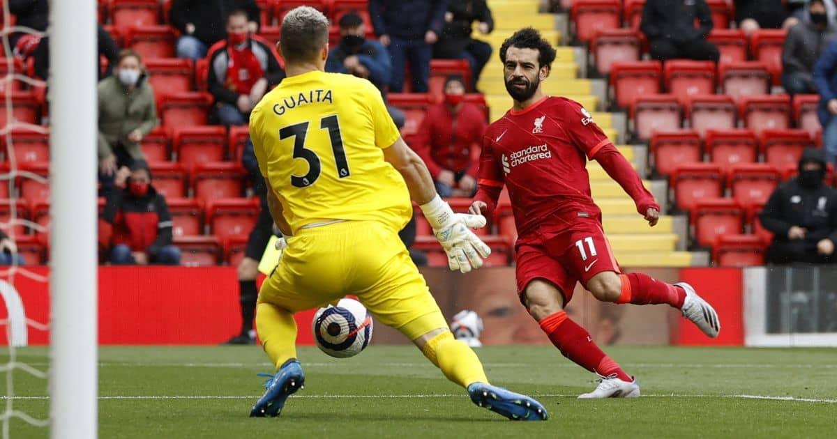 Mohamed Salah, Vicente Guaita Liverpool v Crystal Palace May 2021
