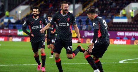 Nathaniel Phillips, Mohamed Salah, Roberto Firmino Burnley v Liverpool May 2021