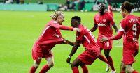 Ibrahima Konate, Emil Forsberg, Nordi Mukiele celebrate Werder Bremen v RB Leipzig April 2021