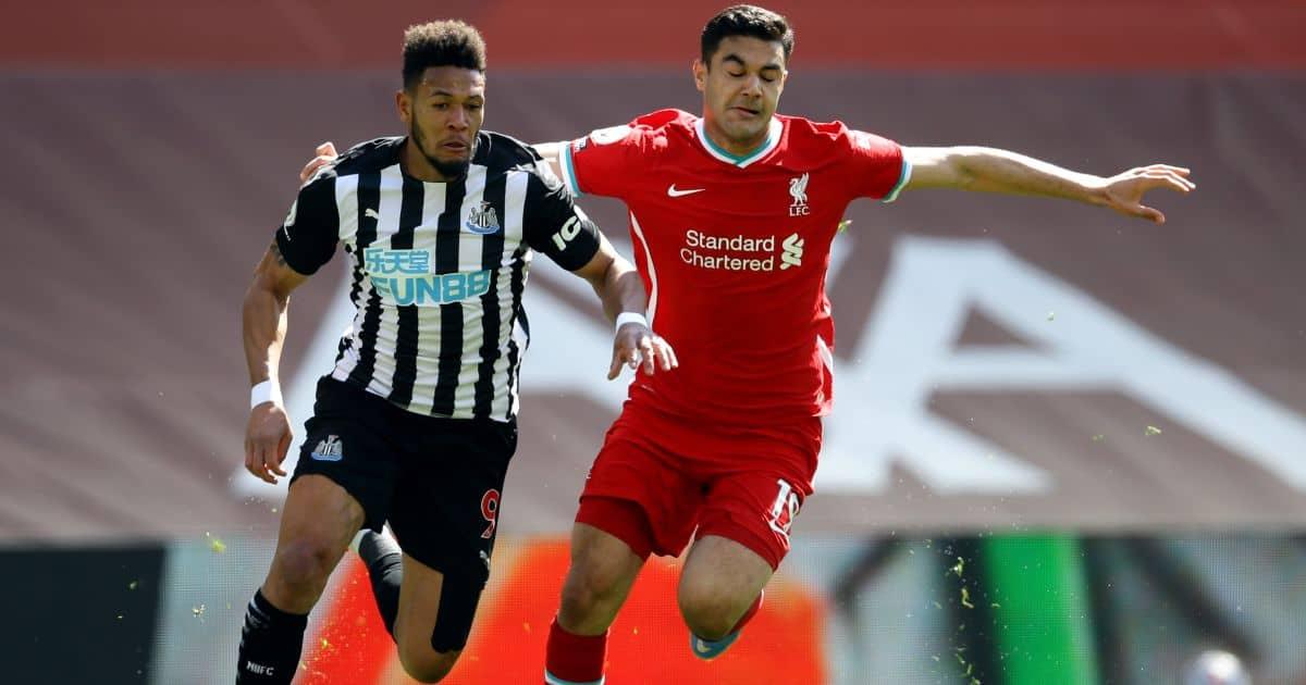 Joelinton tussling with Ozan Kabak, Liverpool v Newcastle