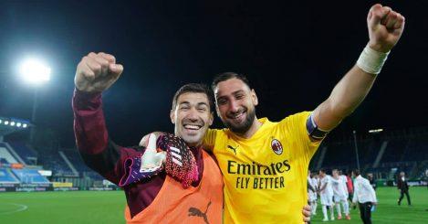 Alessio Romagnoli, Gianluigi Donnarumma on the pitch AC Milan TEAMtalk
