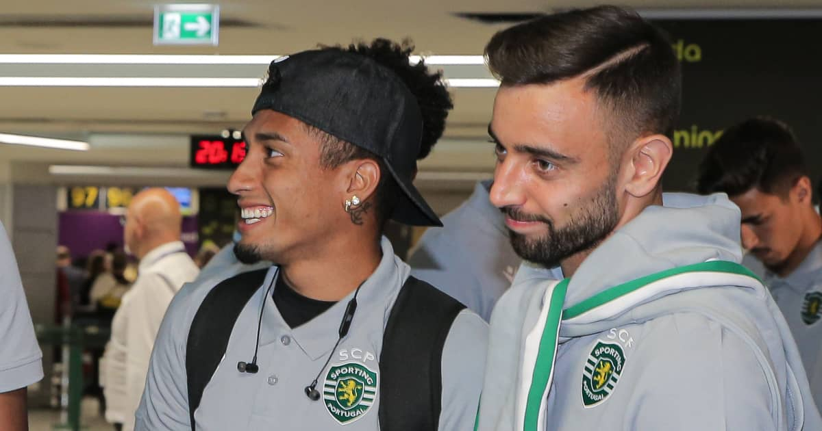 Raphinha and .Bruno Fernandes smiling and .laughing at Sporting.Lisbon 2019