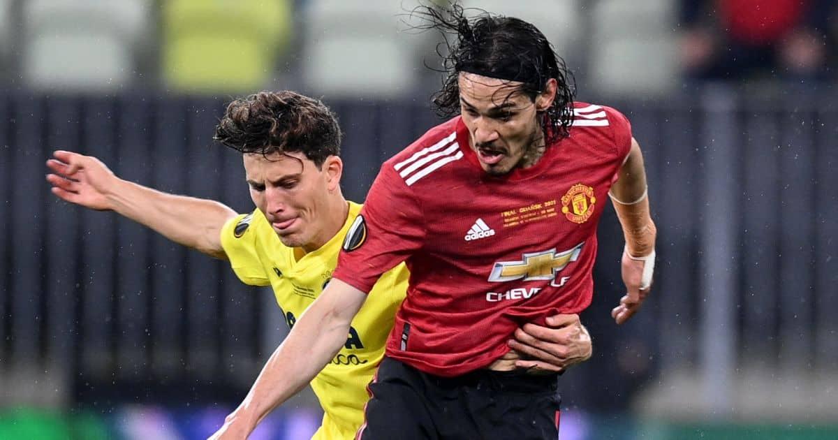 Pau Torres tackles Edinson Cavani Europa League final 2021