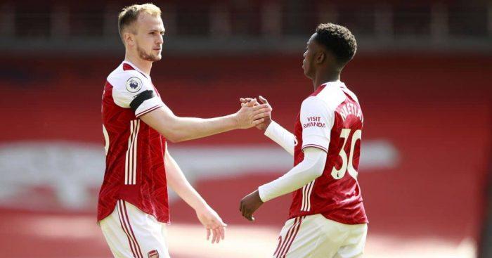 Eddie Nketiah, Rob Holding Arsenal v Fulham April 2021
