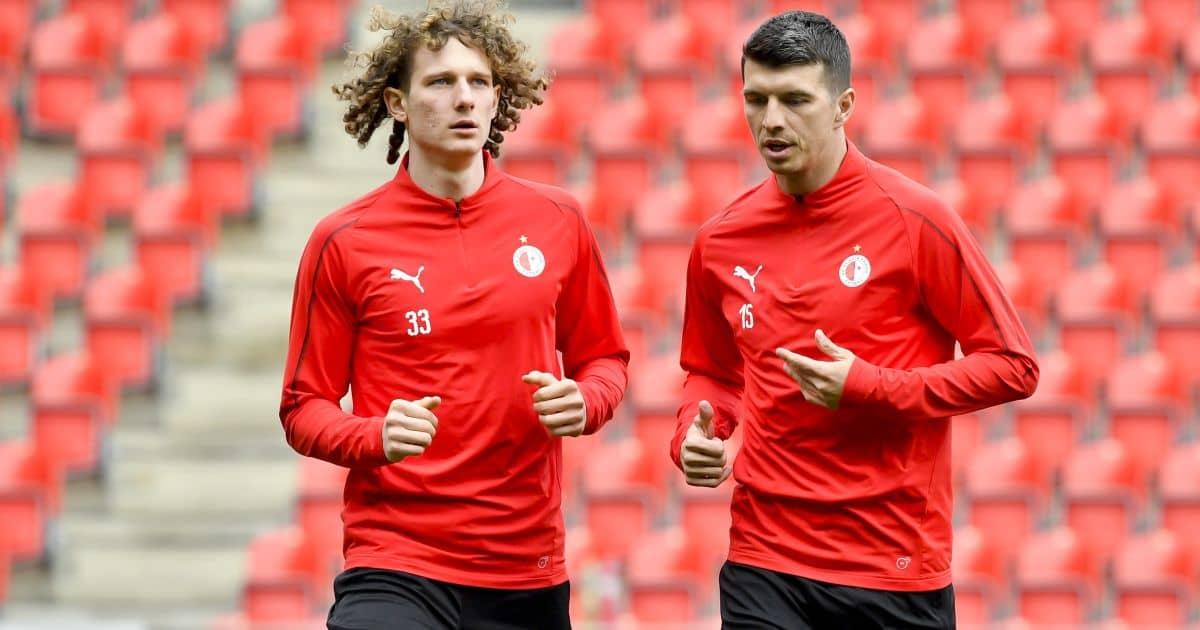 Alex Kral (l) training with Slavia TEAMtalk