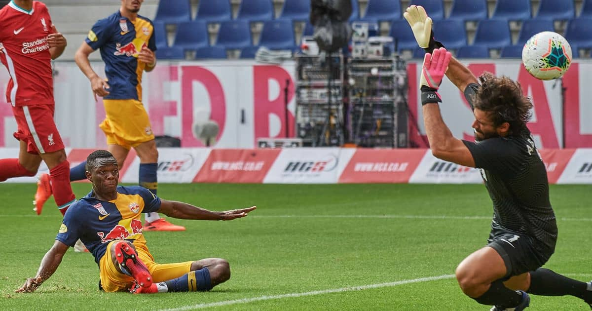 RB Salzburg striker Patson Daka scores past Liverpool goalkeeper Alisson Becker, TEAMtalk