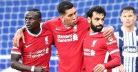 Sadio Mane Roberto Firmino Mohamed Salah goal celebration v West Brom, May 2021