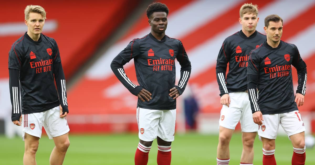 Martin Odegaard, Bukayo Saka Emile Smith Rowe and Cedric Soares pictured in Arsenal training, March 2021