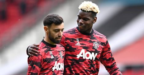 Bruno Fernandes and Paul Pogba warming up for Man Utd, May 2021