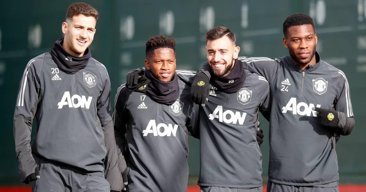 Diogo Dalot Fred Bruno Fernandes Timothy Fosu-Mensah in Man Utd training