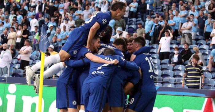 Chelsea celebrating Kai Havertz's goal, Champions League final v Man City, May 2021