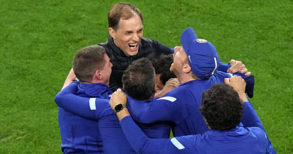 Thomas Tuchel celebrates with Chelsea coaching staff, Champions League final v Man City, May 2021