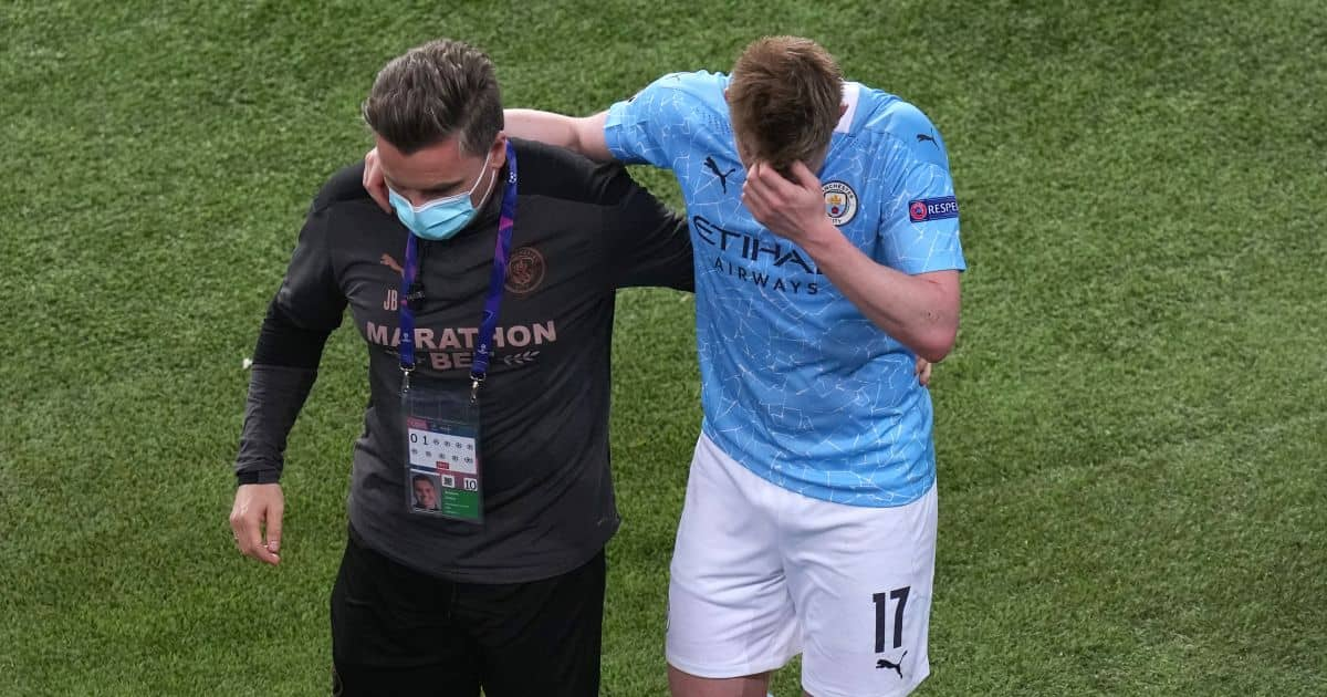 Kevin de Bruyne, substituted for Man City after injury in Champions League final, TEAMtalk
