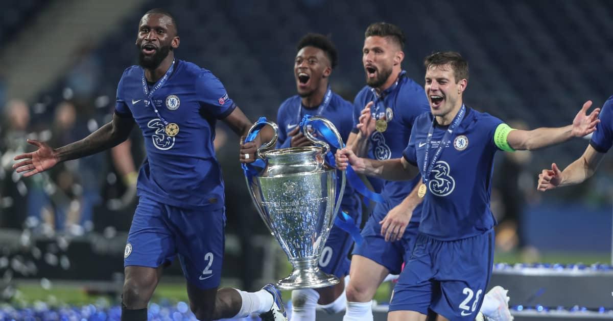 Antonio Rudiger, Callum Hudson-Odoi, livier Giroud and Cesar Azpilicueta celebrate Champions League final win, Chelsea