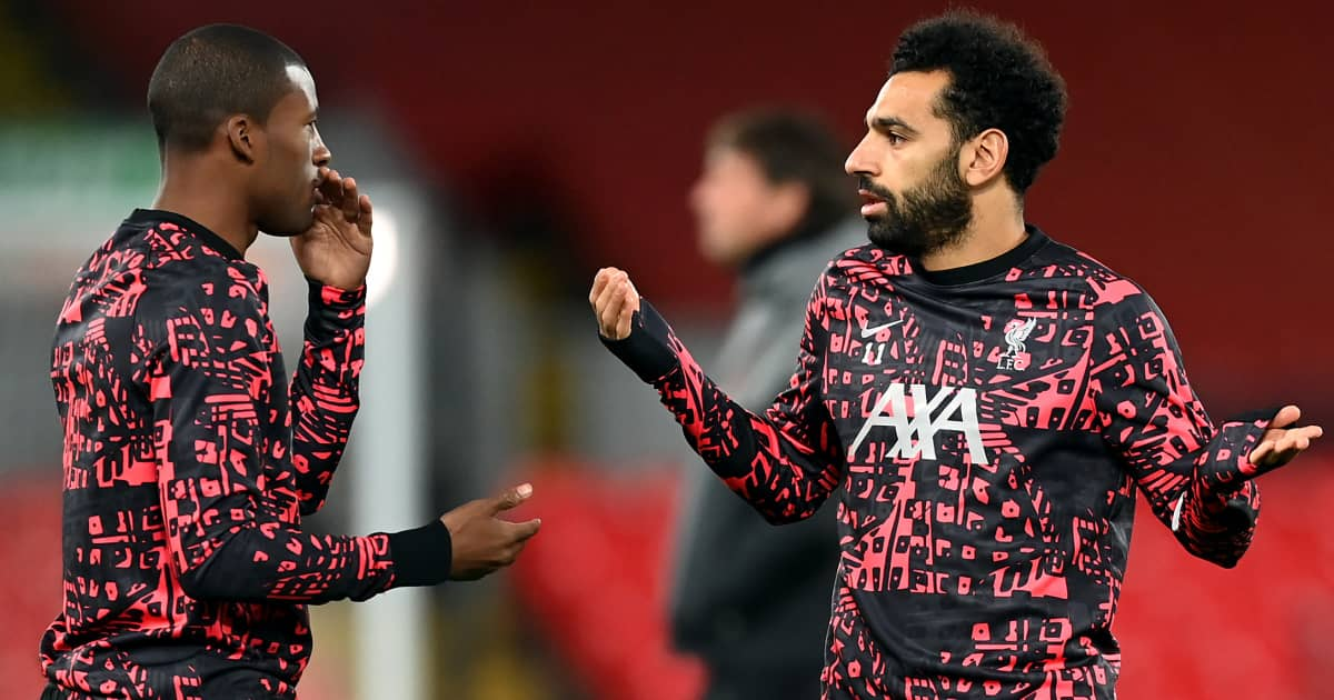 Georginio Wijnaldum and Mohamed Salah in discussion during Liverpool training, October 2020