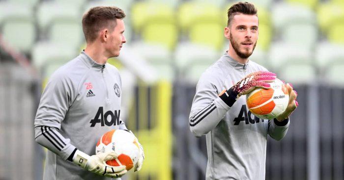 Dean Henderson and David de Gea in Man Utd training, May 2021