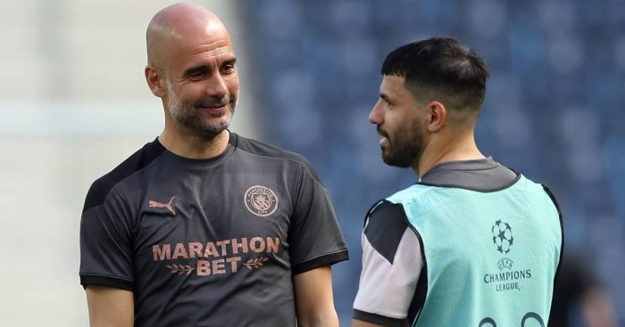 Pep Guardiola with Sergio Aguero in Man City training, May 2021