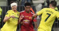 Juan Foyth tussling with Marcus Rashford, Europa League final, Man Utd v Villarreal, May 2021