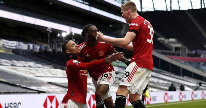 Aaron Wan-Bissaka, Mason Greenwood, Scott McTominay Tottenham v Man Utd April 2021