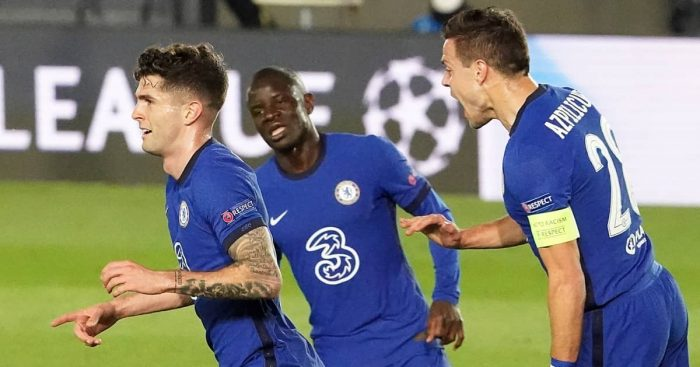 Christian Pulisic, N'Golo Kante and Cesar Azpilicueta celebrating for Chelsea, April 2021