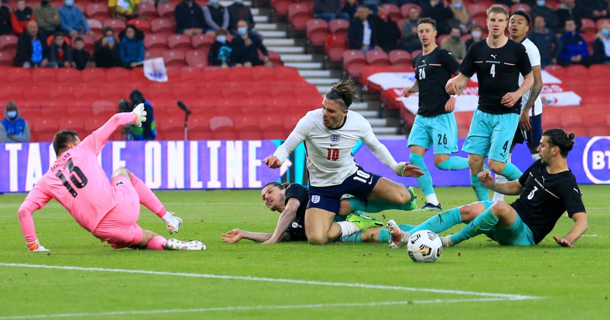 Jack Grealish causing havoc in the Austria box for England, June 2021